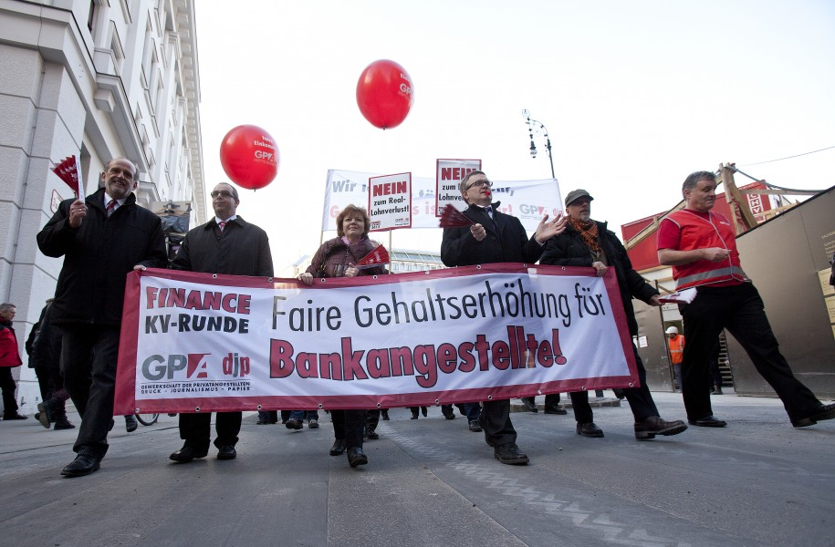 Proteste, Banken Kollektivvertrag