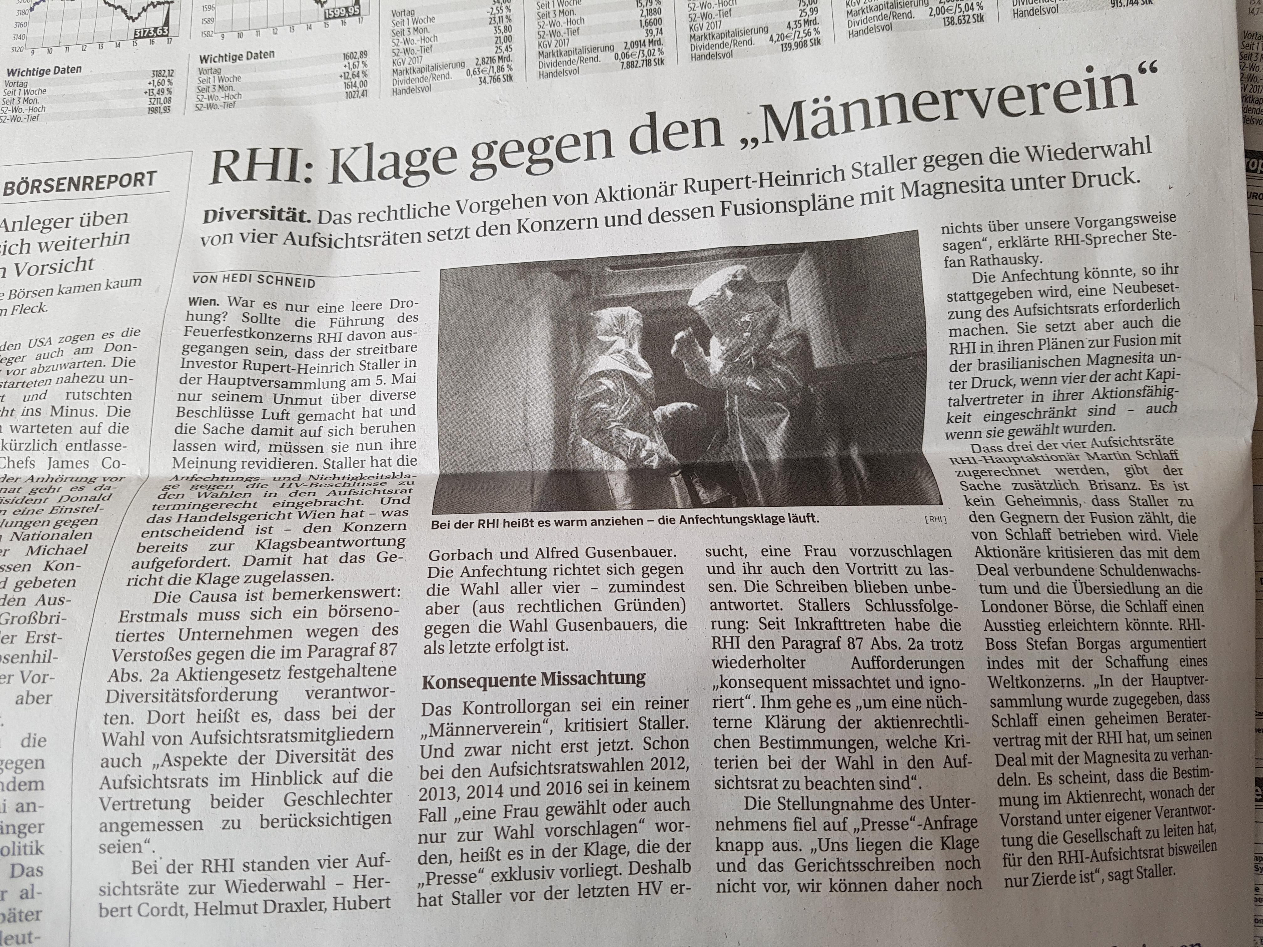 RHI-Klage-Aufsichtsrat